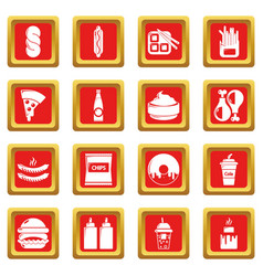 fast food icons set red square vector image