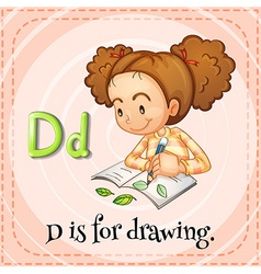 Flashcard letter D is for drawing vector image