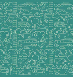 green seamless transport pattern vector image vector image