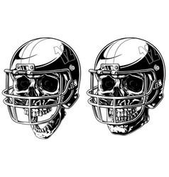 graphic human skull in american football helmet vector image vector image