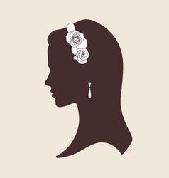 wedding design silhouette of bride wearing tiara vector image vector image