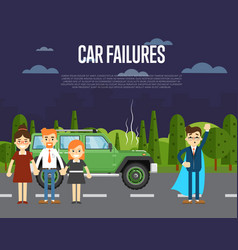 car failures concept with people near broken car vector image