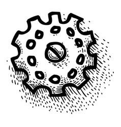 cartoon image of gear icon engineering symbol vector image vector image