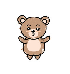 Cute bear wild animal with face expression vector
