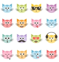 cute colorful cat faces set vector image