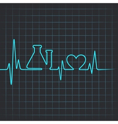 Heartbeat make testtube and heart symbol vector image vector image