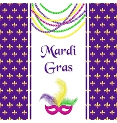 Mardi Gras hliday card Seamless pattern with vector image