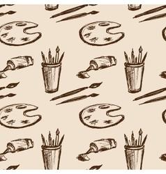Seamless pattern art tools Hand drawing vector image vector image