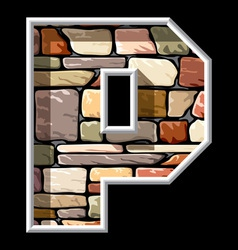 stone letter P vector image vector image