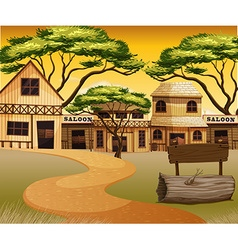 Western town with road and buildings vector image vector image