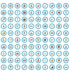 100 miscellaneous goods icons set cartoon style vector