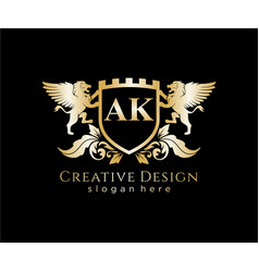 Ak letter initial with lion royal logo template vector