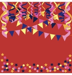 background with confetti paper streamers vector image