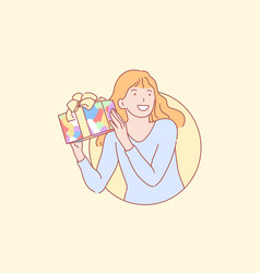Birthday gift happiness surprise concept vector