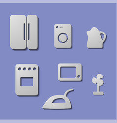 Black home appliances icons set on gray vector