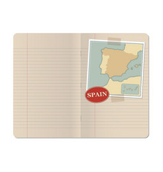 Blank stapled lines notebook with map of spain vector