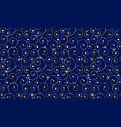 Blue and gold ornamental pattern abstract modern vector