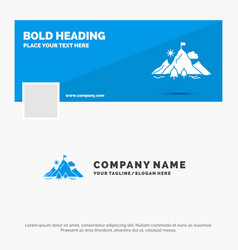 blue business logo template for achievement flag vector image