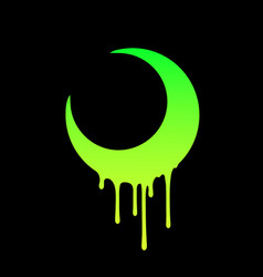 Bright crescent moon with drops flowing down vector