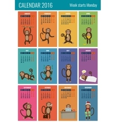 Calendar for 2016 with chinese zodiac Monkey vector image