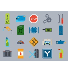 Car service flat icons Vehicle maintenance and vector