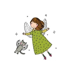 Cartoon angel and cat vector