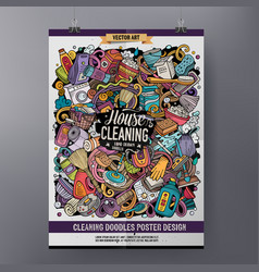 cartoon colorful hand drawn doodles cleaning vector image