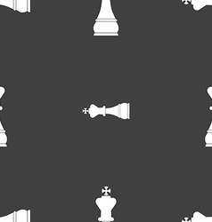 Chess king sign Seamless pattern on a gray vector image