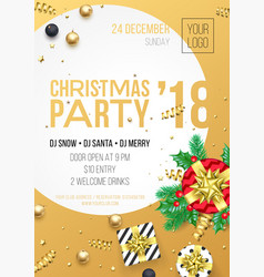 christmas 2018 party invitation poster design vector image