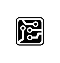 circuit board scheme microchip flat icon vector image