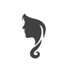 Conceptual logo silhouette of a woman with hair vector image