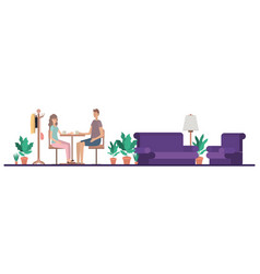 couple drinking coffee in living room vector image