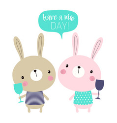 cute cartoon bunnies vector image