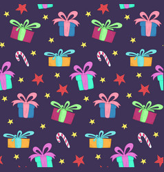 cute christmas pattern with gift boxes and stars vector image
