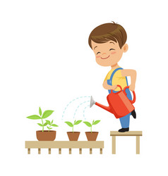 Cute little boy character watering plants from a vector