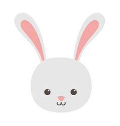cute rabbit head character on white background vector image