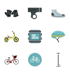 Cycling icons set flat style vector image