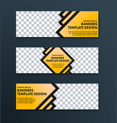 design of web banners of yellow color with black vector image