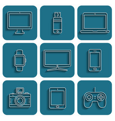 Digital device icons vector