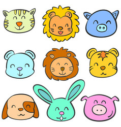 Doodle of animal head funny colorful vector