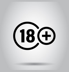 Eighteen plus icon in flat style 18 on white vector