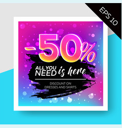 Expressive sale template with watercolor splash vector