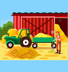 female farmer working with pitchfork cartoon vector image