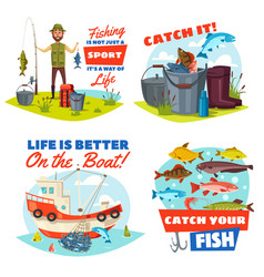 Fisherman fishing boat and fish catch icons vector