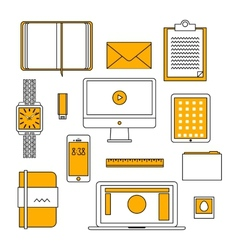 Flat design thin line icons set vector image