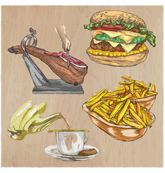 food freehands hand drawn collection line art vector image