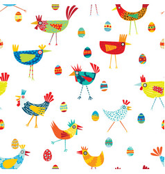 funky repeat patern of colorful chickens vector image