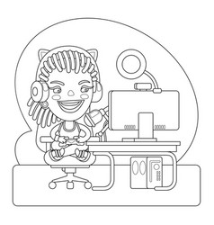 Gamer coloring page vector