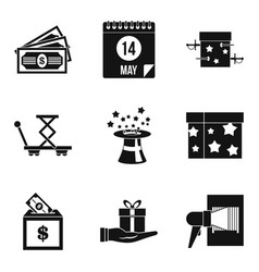gift in box icons set simple style vector image