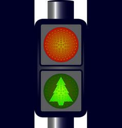 Green Christmas Traffic Lights vector